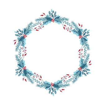 Christmas wreath with berries, pine cone and branches. template