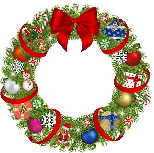 Christmas wreath with christmas balls, gingerbreads, gift boxes, snowflakes and candies