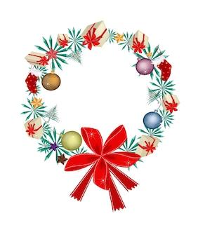 クリスマス・オーナメントと赤い弓の花輪