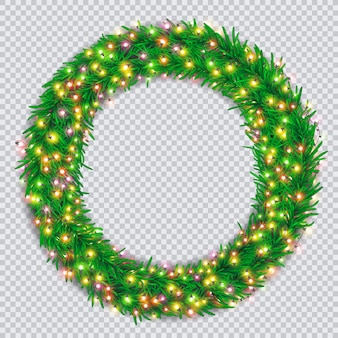 Christmas wreath with colourful glowing garlands on transparent background