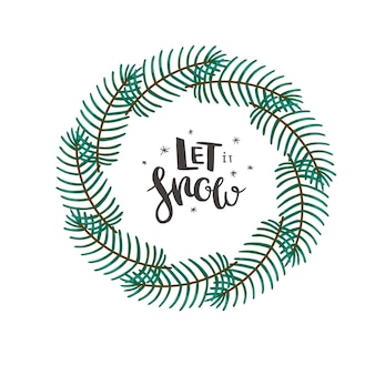 Christmas wreath with coniferous branches and hand drawn lettering minimalist christmas card vector