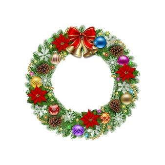 장식과 금종이 있는 크리스마스 화환
