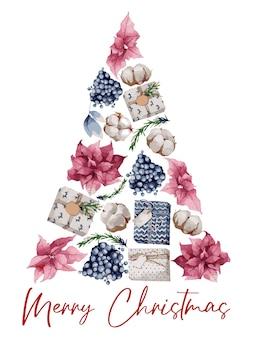 モミの枝、ベリー、綿のクリスマスリース