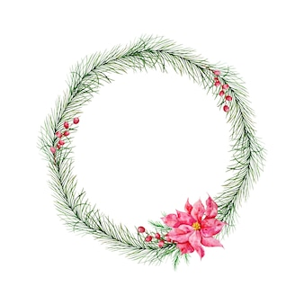 Christmas wreath with fir tree, red winter berries and red winter poinsettia flower. winter wreath painted in watercolor