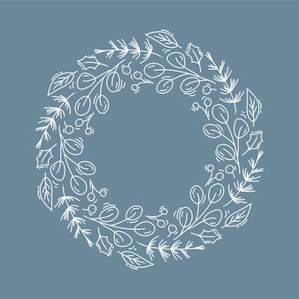 Christmas  wreath with flowers and cone branches