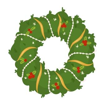 ガーランドフラワーとベリーの新年のデザイン要素とクリスマスリース