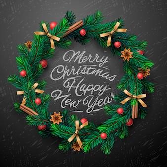 花輪、メリークリスマスと新年あけましておめでとうございますのレタリングとクリスマスリース。