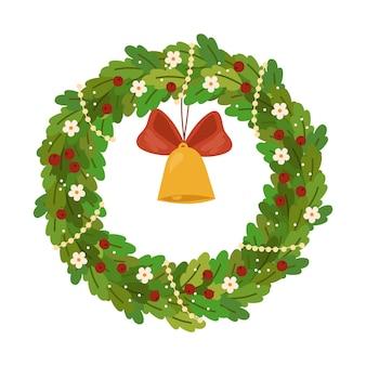 金の鐘の赤いリボンの花とベリーの新年のデザイン要素とクリスマスリース
