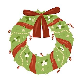 ゴールドベルレッドリボンフラワーとベリーのクリスマスリース