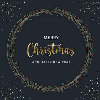 Рождественский венок с золотым блеском на черном фоне