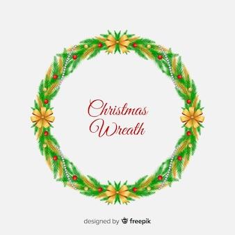 Рождественский венок с золотым фоном