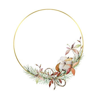 木の枝と綿で、金色の円とクリスマスリース。水彩で描かれた冬の花輪