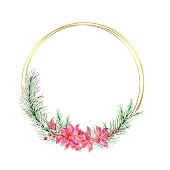 Christmas wreath with golden circles, with fir tree, red winter berries and red winter poinsettia flower. winter wreath painted in watercolor