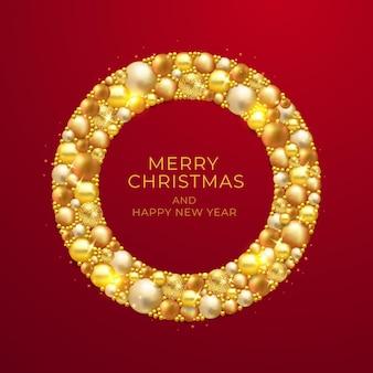 金色の装飾が施されたクリスマスリース