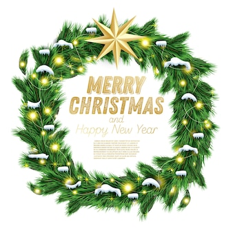 Christmas wreath with green fir branch, light garland and golden star isolated on white background. vector illustration.