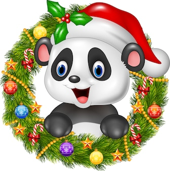 Christmas wreath with happy panda bear