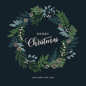 Рождественский венок с ягодами падуба, омелой, ветками сосны и пихты, шишками, ягодами рябины. рождество и с новым годом