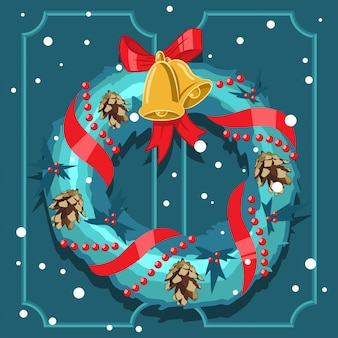 Christmas wreath with holly berry leaves, gold bells, red ribbon and pine cone vector cartoon holiday outdoor decoration.