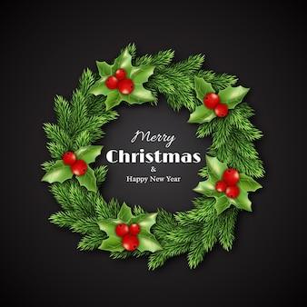 ヒイラギとクリスマスリース。メリークリスマスと新年あけましておめでとうございますのテキスト、黒の背景。ベクトルイラスト。
