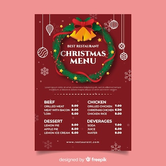 Christmas wreath with jingle bells menu template