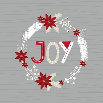 Christmas wreath with joy letter