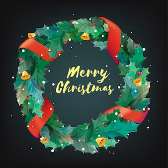 Christmas wreath with merry christmas lettering
