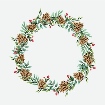 Christmas wreath with pine cones watercolor style