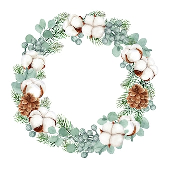 Christmas wreath with pine and eucalyptus leaves