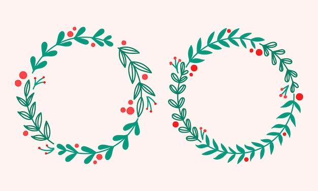 포 인 세 티아와 소나무와 크리스마스 화 환입니다. 휴일 프레임.