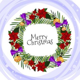 フラットなデザインのポインセチアの花とクリスマスリース