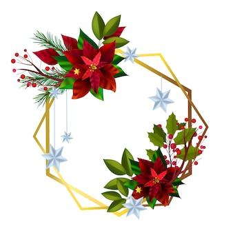 Рождественский венок с красными листьями пуансеттии, еловыми ветками, ягодами.