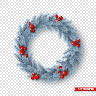 Рождественский венок с реалистичными еловыми ветками и ягодами. элемент декоративного дизайна для праздничных плакатов, листовок, баннеров. изолированные на прозрачном фоне, векторные иллюстрации.