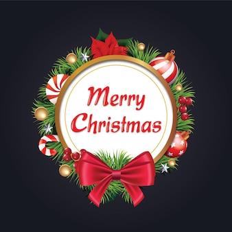 붉은 활과 리본이 달린 크리스마스 화환 소나무 가지 장식 화환 현실적인 모습