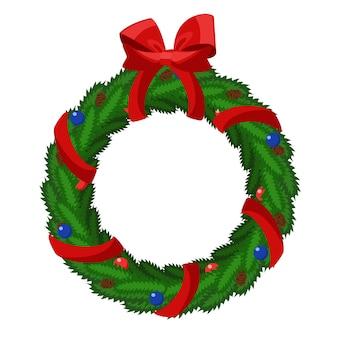 白地に赤の弓とクリスマスリース。