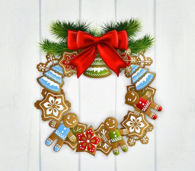 Christmas wreath with red bow