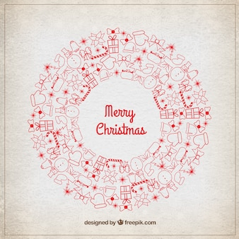 Christmas wreath with red details