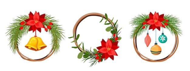 붉은 꽃과 전나무 크리스마스 화 환입니다. 만화 스타일
