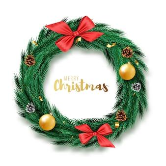 リボン、ボール、分離された弓とクリスマスリース。図