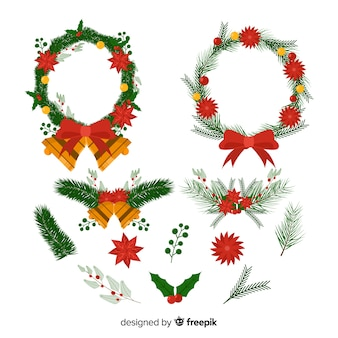 Christmas wreath with ribbons with jingle bells