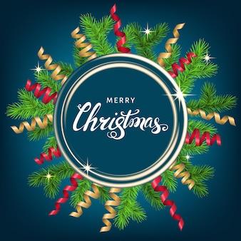 Рождественский венок с еловой веткой, золотым и красным серпантином и буквами на синем фоне. зеленая ель. векторный шаблон для рождественских открыток, баннеров, листовок, новогодних плакатов.