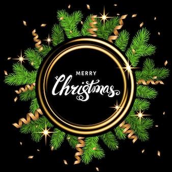 가문비나무 가지, 금색 사문석, 검정색 배경에 흰색 글자가 있는 크리스마스 화환. 녹색 전나무. 크리스마스 카드, 새해 파티 포스터를 위한 벡터 템플릿입니다.