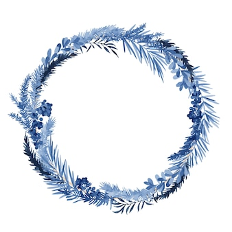 Christmas wreath with spruce and eucalyptus branches