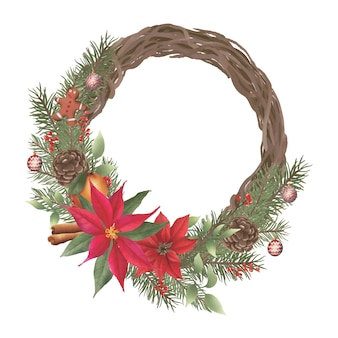 Christmas wreath with watercolor twig frames