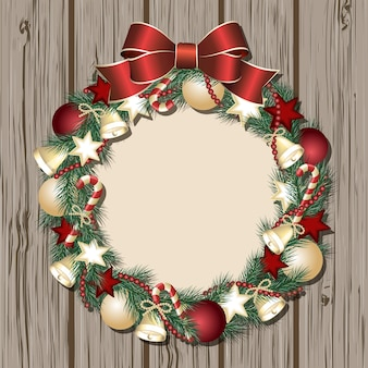 Christmas wreath on wooden door.