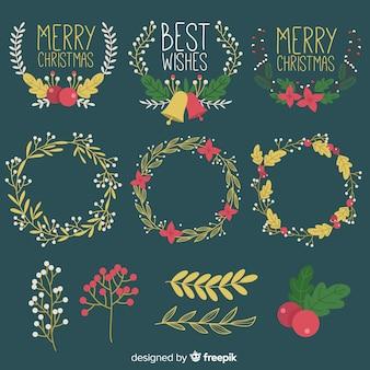 クリスマスの花輪と花