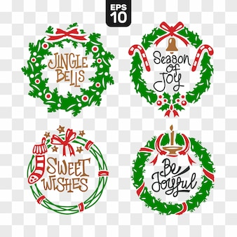 Christmas wreaths cutting file collection set with quote