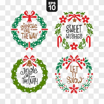 Christmas wreaths cutting file collection set with wishes quote