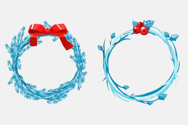 Christmas wreaths of pine branches, decorated with a red ribbon and berries. cartoon illustration. objects on a separate layer.