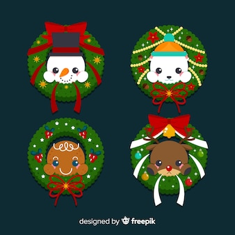 Christmas wreaths set with characters