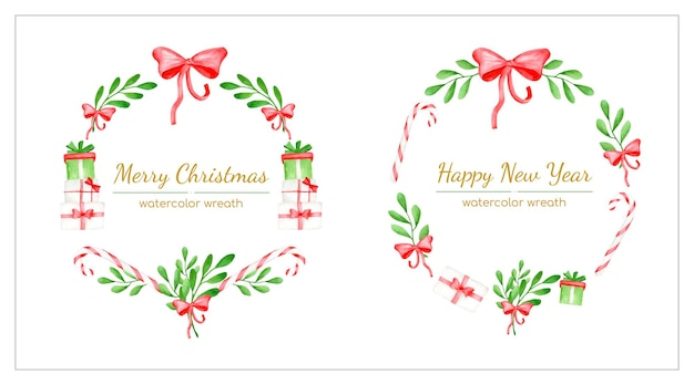Christmas wreaths with mistletoe leaves candy canes and gift boxes new year round frames
